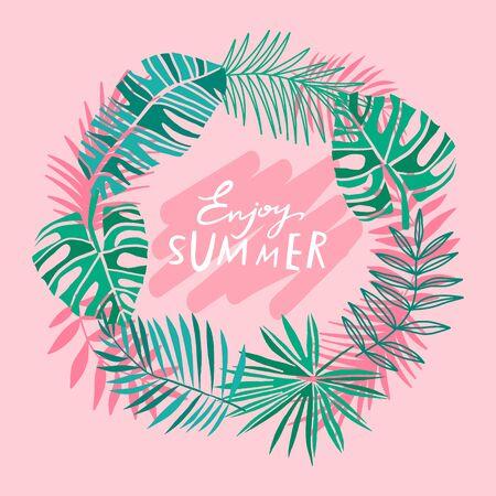 Pink tropical circle summer frame. Tropic leaves vector summer background. Jungle plant banner Illustration