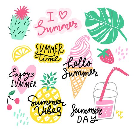 Summer lettering with illustration set. Sticker collection isolated on white