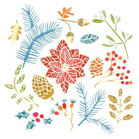 Weihnachtswinter mit Blumen, Blumen, Blättern, Beeren. Netter handgezeichneter Weihnachtsblumensatz isoliert auf weiß