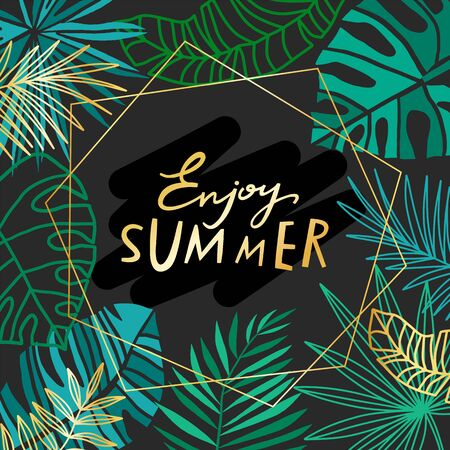 Gold vector tropical leaves summer background. Luxury golden summer template with jungle leaves on black