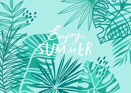 Tropical leaf background.Exotic blue floral summer banner.