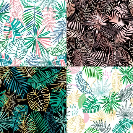Tropical vector seamless pattern collection. Summer tropic floral background. Green jungle leaves on pink