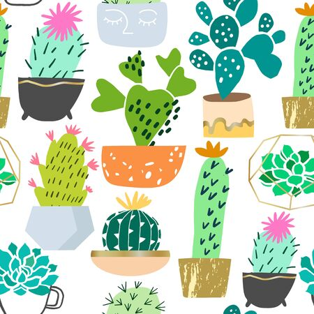 Vector houseplant seamless pattern. Cactus and succulent plants background Illustration