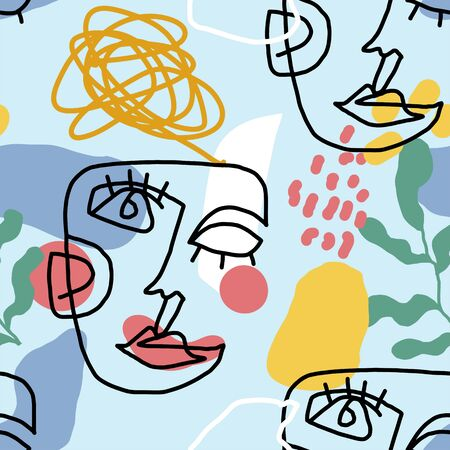 Continuous line art modern seamless pattern with face. Abstract contemporary geometric shapes collages. Trendy style