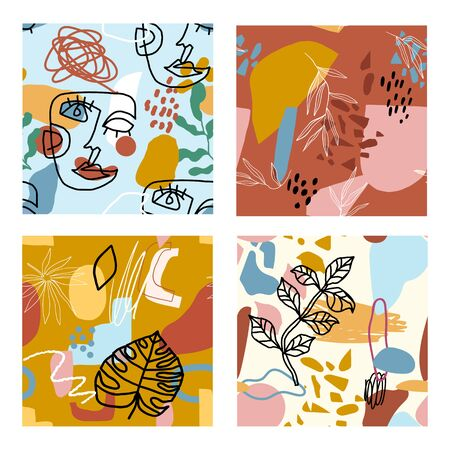 Trendy abstract pattern set. Abstract scribble lines and shapes bacground Illustration