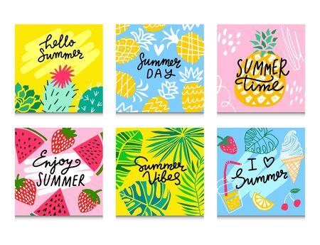Summer vector card set. Summer art for card, social media design. Pineapple, watermelon, cactus, tropical leaves