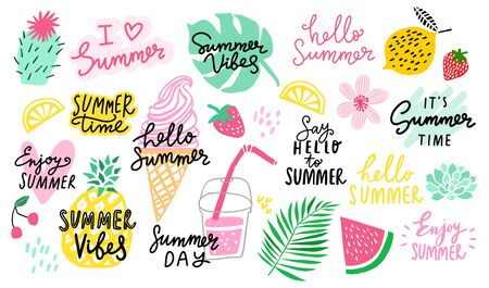 Summer vector lettering set. Summer logo collection