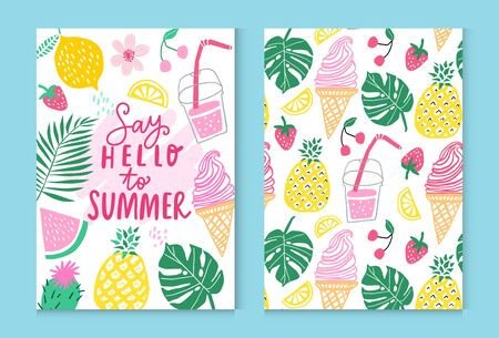Summer vector poster design. Summer pineapple, watermelon, cactus, tropical leaves