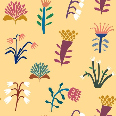 Flower seamless pattern. Plant and flower background