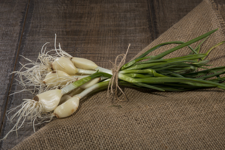Green garlic on rustic canvas on a wooden canvas. Studio photo