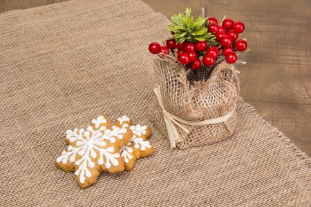 guelder rose berry: Two sticks with Christmas pattern, viburnum in a vase of scrim. Stock Photo