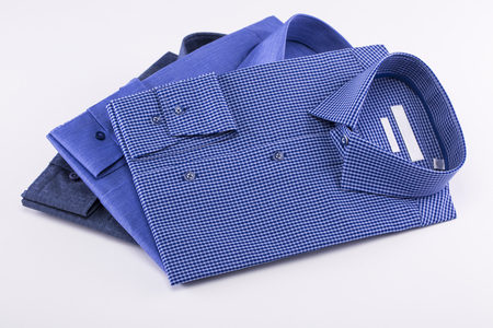 Shirts in blue on a white background