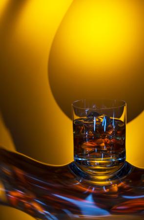 nice glass of cognac on the original reflection Stock Photo