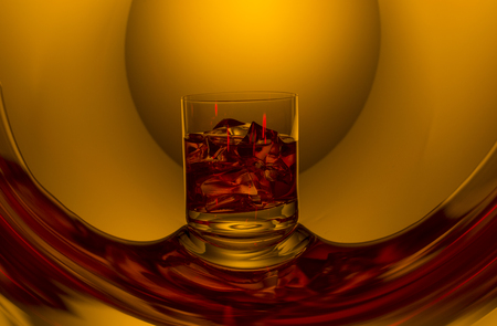 nice glass of cognac on the original reflection Stock Photo