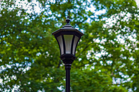 Streetlight in city park against green trees, modern energy-efficient lamp in retro style Stock Photo