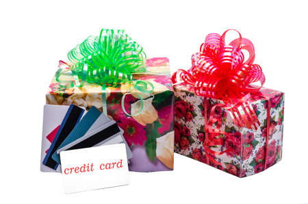 purchase of gifts with the help of a credit card photo