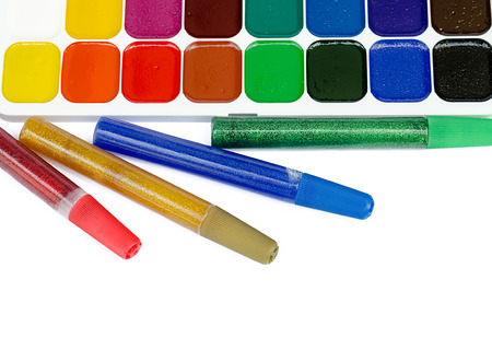 paints and color glue for children photo