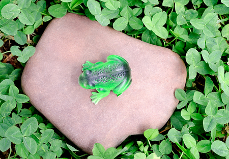 the toy frog sits on a stone photo