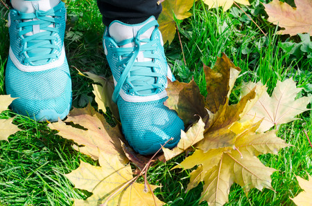 sports womens shoes a background on yellow leaves photo
