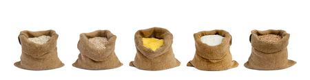 arroces: grano en sacos el aisladas Foto de archivo