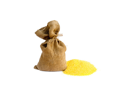 sack with corn grain photo