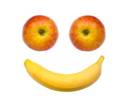 banane: Visage heureux fruit - pomme, banane Banque d'images