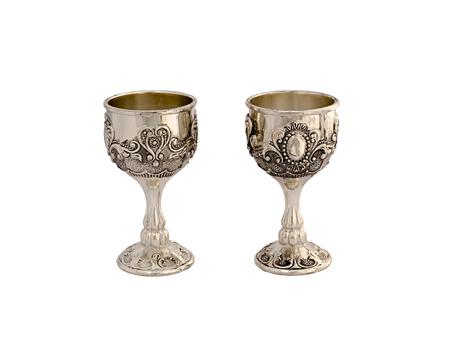 pewter mug: Silver wine-glasses isolated on white background. Stock Photo