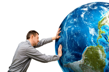 pushes: man pushes the planet on a white background.