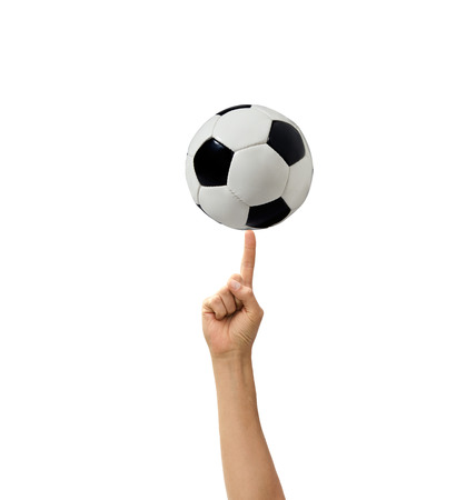 low prizes: soccerball in a hand the isolated Stock Photo