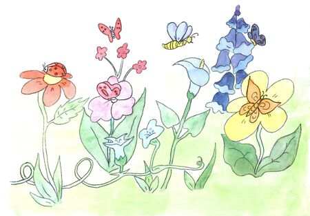 watercolors flowers sketch  photo
