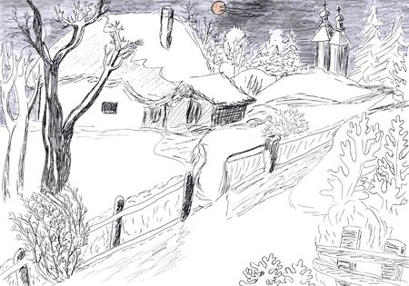 beautiful landscape of winter village, pencil drawing photo