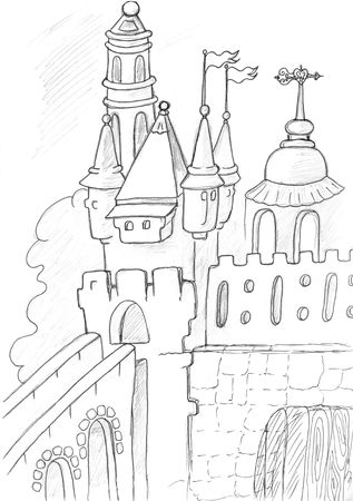 medieval castle sketch, pencil drawing Stock Photo - 6421105