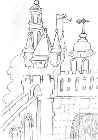 medieval castle sketch, pencil drawing