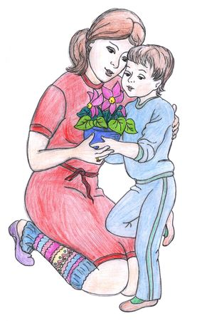 Mother and son holding flowers, drawing, isolated photo