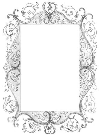 pensil: isolated rectangle frame for picture, pensil drawing Stock Photo