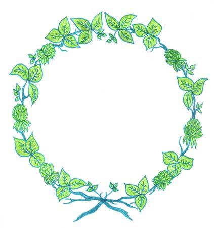 verde rama floral, de laureles, el esbozo color, el dibujo  Foto de archivo - 6470551