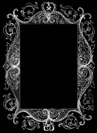 black picture frame: picture frame isolated on black, sketch Stock Photo