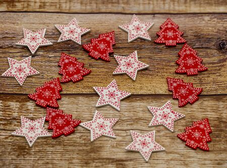 Christmas wooden background decorated with Christmas tree toys Stock fotó