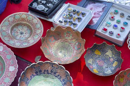various old retro things in the flea market Standard-Bild