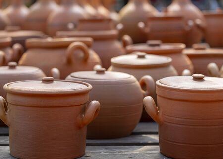 pottery, pots, pitchers in the village market