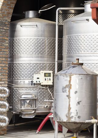 Plant for the production of wine. The process of fermentation of grapes for wine production