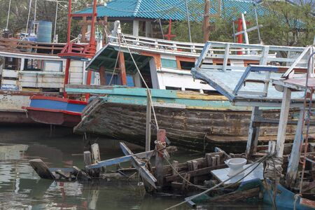broken old boats in Asia tropical