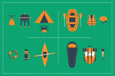 lifejacket: Vector Set of 15 items about Extreme Sports & Travel Illustration