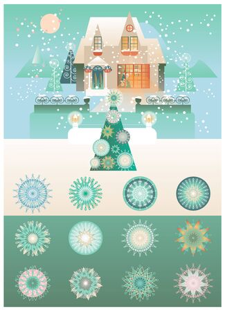 Holiday illustration with House, Winter Landscape and Snowflakes types. Illustration
