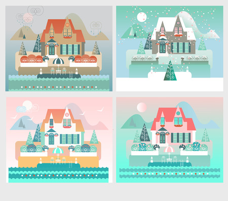 four: Island Resort House Illustration with Four Seasons Landscapes