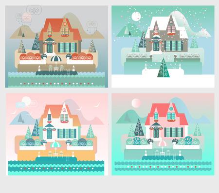 estaciones del a�o: Island Resort ilustraci�n de la casa con cuatro estaciones paisajes