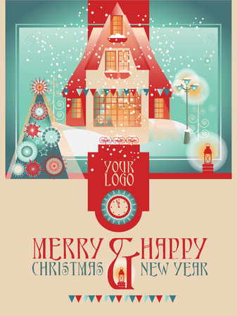 christmas house: Greeting Christmas Template with House, Tree and Background Illustration