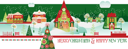 Vintage Christmas Banner with Winter Eve Cityscape