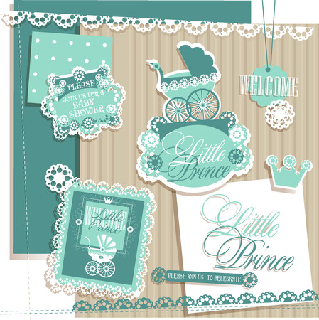 prams: Scrapbook Elements for Baby Boy Shower