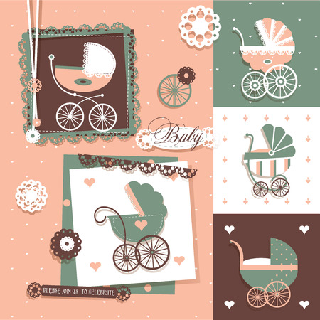 set with Scrapbook Elements for Baby Shower Illustration
